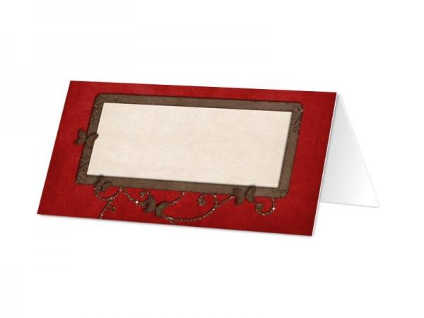 Marque-place mariage - Papillons marrons sur fond rouge