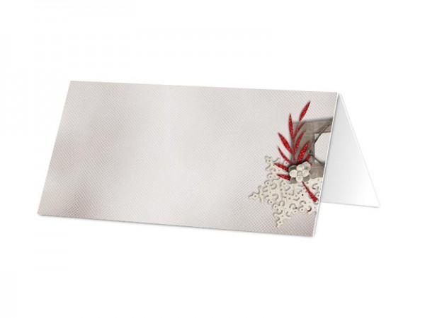 Marque-place mariage - Fleur blanche sur feuilles rouges