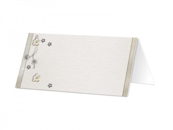 Marque-place mariage - Coeur blanc, fleurs blanches