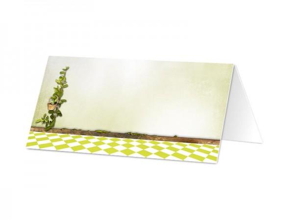 Marque-place mariage - Ruban rouge et damier vert