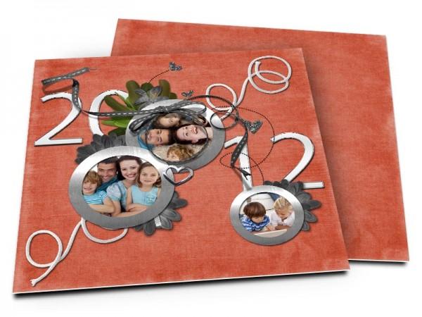 Cartes de voeux famille - Horloge de fin d'année