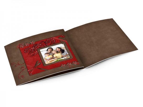 Cartes de voeux famille - Paillettes or avec fond rouge