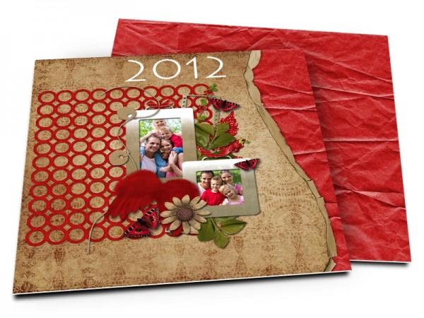 Cartes de voeux famille - Vieux tissus sur fond rouge