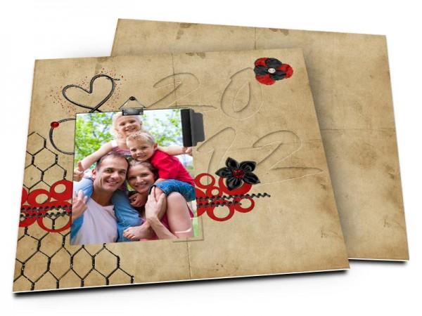 Cartes de voeux famille - Marron et rouge