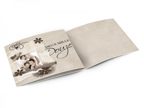 Cartes de voeux famille - Coeur de papier et fleurs de diamants