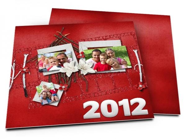 Cartes de voeux famille - La maison en bois sur fond rouge