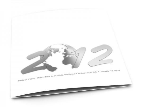 Cartes de voeux entreprise - Planète voeux acier fond blanc