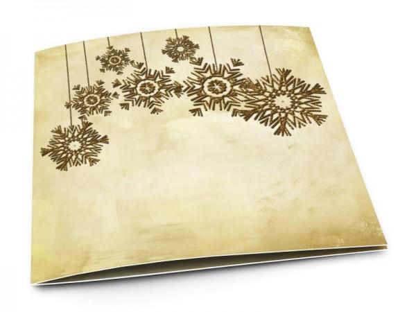 Cartes de voeux entreprise - Flocons dorés