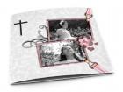 Faire-part communion - Croix noire sur fond gris