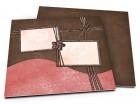 Faire-part mariage - Ruban marron et rose